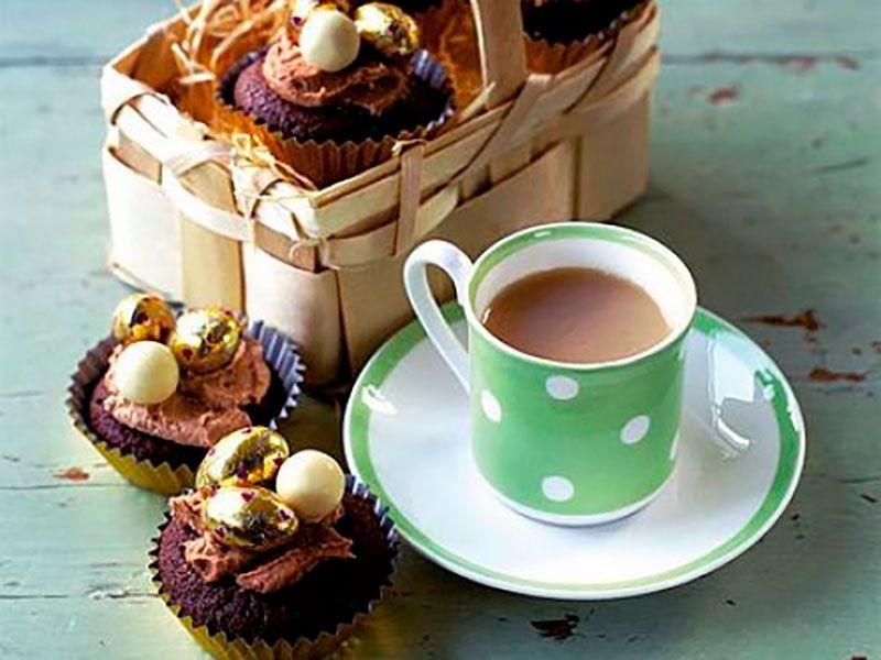 Пасхальные кексы в силиконовых формах с шоколадной глазурью