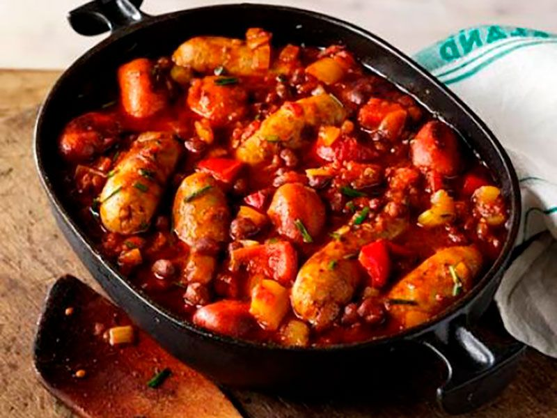 Рагу овощное с колбасками